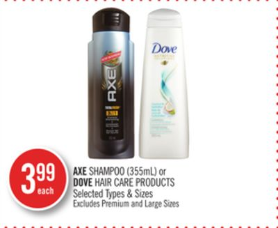 Axe Shampoo (355ml) or Dove Hair Care Products