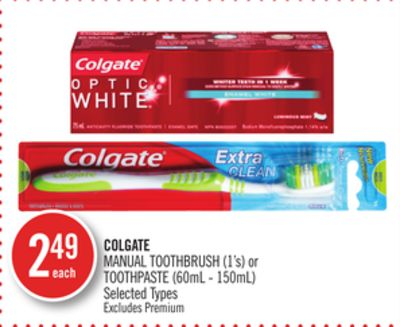 Colgate Manual Toothbrush (1's) or Toothpaste (60ml - 150ml)