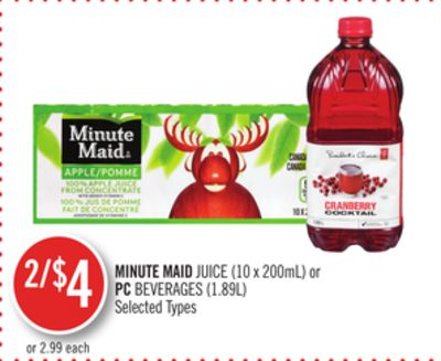 Minute Maid Juice (10 X 200ml) or PC Beverages (1.89l)