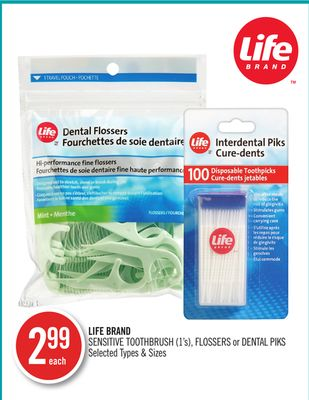 Life Brand Sensitive Toothbrush - Flossers or Dental Piks
