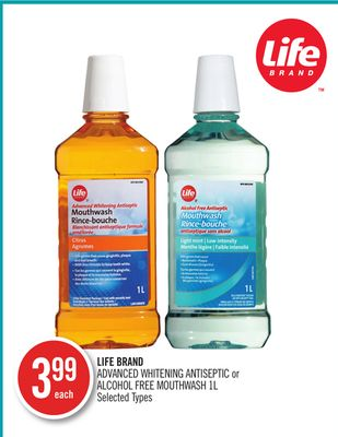 Life Brand Advanced Whitening Antiseptic or Alcohol Free Mouthwash 1l