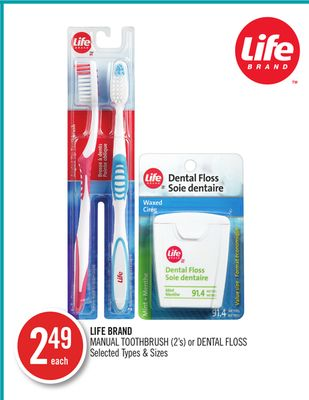 Life Brand Manual Toothbrush (2's) or Dental Floss