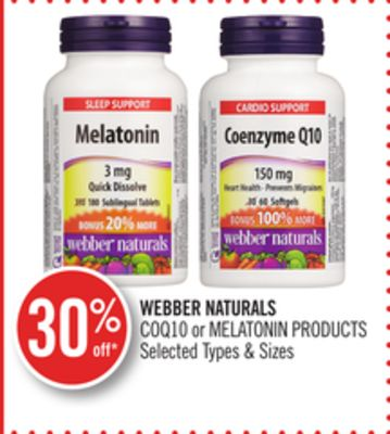 Webber Naturals Coq10 or Melatonin Products