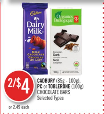 Cadbury (85g - 100g) - PC or Toblerone (100g) Chocolate Bars
