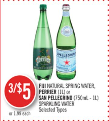 Fiji Natural Spring Water - Perrier (1l) or San Pellegrino (750ml - 1l) Sparkling Water