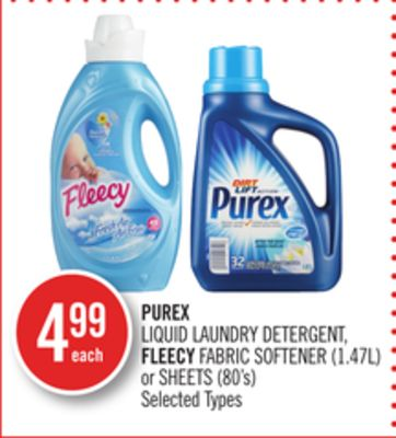 Purex Liquid Laundry Detergent - Fleecy Fabric Softener (1.47l) or Sheets (80's)