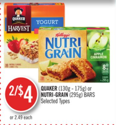 Quaker (130g - 175g) or Nutri-grain (295g) Bars