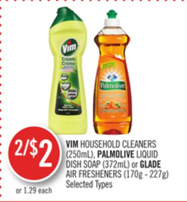 Vim Household Cleaners (250ml) - Palmolive Liquid Dish Soap (372ml) or Glade Air Fresheners (170g - 227g)