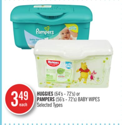 Huggies (64's - 72's) or Pampers (56's - 72's) Baby Wipes
