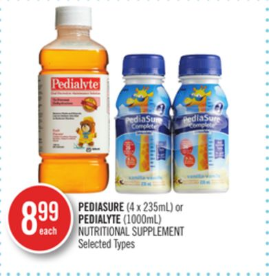 Pediasure (4 X 235ml) or Pedialyte (1000ml) Nutritional Supplement