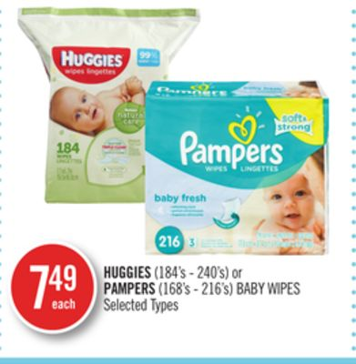 Huggies (184's - 240's) or Pampers (168's - 216's) Baby Wipes