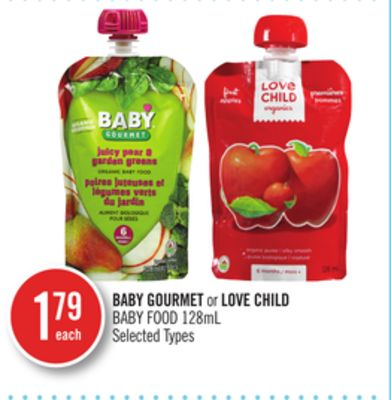 Baby Gourmet or Love Child Baby Food 128ml