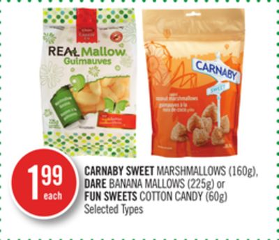 Carnaby Sweet Marshmallows (160g) - Dare Banana Mallows (225g) or Fun Sweets Cotton Candy (60g)