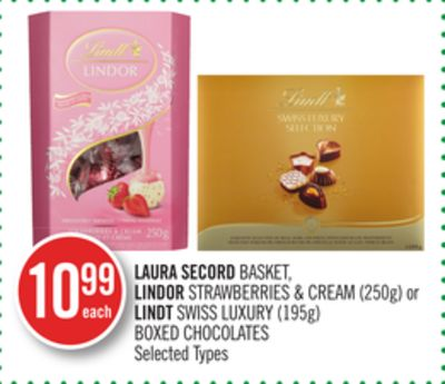 Laura Secord Basket - Lindor Strawberries & Cream (250g) or Lindt Swiss Luxury (195g) Boxed Chocolates