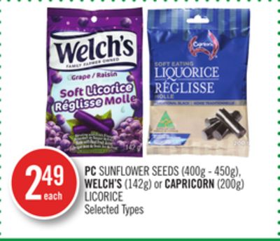 PC Sunflower Seeds (400g - 450g) - Welch's (142g) or Capricorn (200g) Licorice