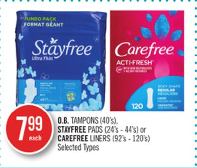 O.b. Tampons (40's) - Stayfree Pads (24's - 44's) or Carefree Liners (92's - 120's