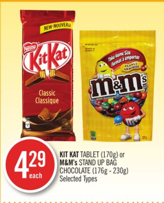 Kit Kat Tablet (170g) or M&m's Stand Up Bag Chocolate (176g - 230g)