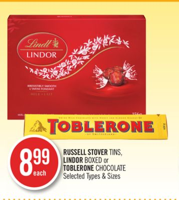 Russell Stover Tins - Lindor Boxed or Toblerone Chocolate