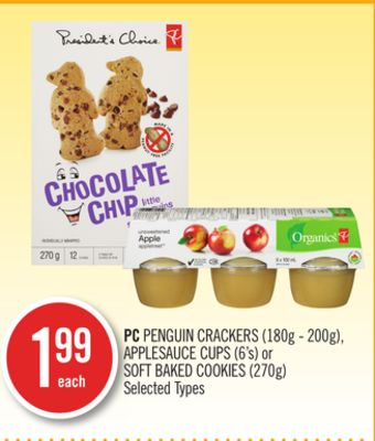 PC Penguin Crackers (180g - 200g) - Applesauce Cups (6's) or Soft Baked Cookies (270g)