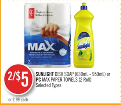 Sunlight Dish Soap (630ml - 950ml) or PC Max Paper Towels (2 Roll)