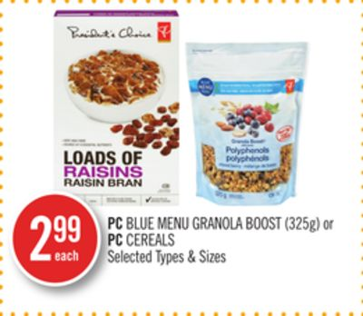 PC Blue Menu Granola Boost (325g) or PC Cereals