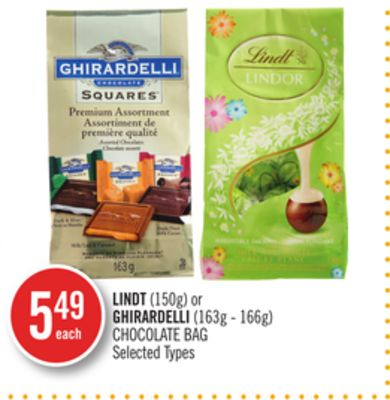 Lindt (150g) or Ghirardelli (163g - 166g) Chocolate Bag