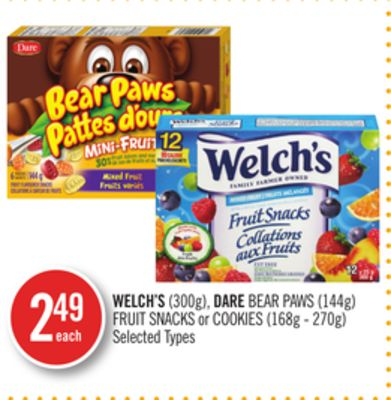 Welch's (300g) - Dare Bear Paws (144g) Fruit Snacks or Cookies (168g - 270g)