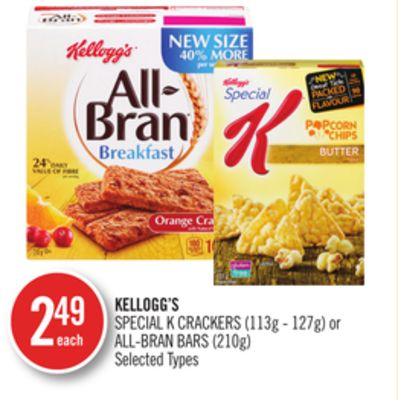 Kellogg's Special K Crackers (113g - 127g) or All-bran Bars (210g)