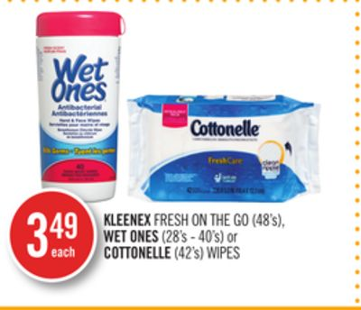 Kleenex Fresh On The Go (48's) - Wet Ones (28's - 40's) or Cottonelle (42's) Wipes