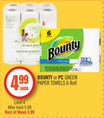 Bounty or PC Green Paper Towels