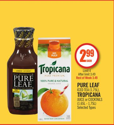 Pure Leaf Iced Tea (1.75l) - Tropicana Juice or Cocktails (1.65l - 1.75l)