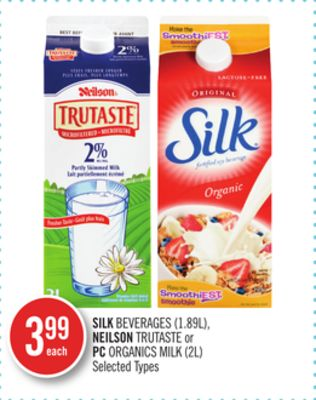 Silk Beverages (1.89l) - Neilson Trutaste or PC Organics Milk (2l)