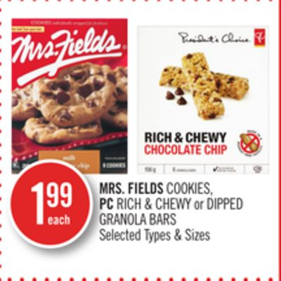Mrs. Fields Cookies - PC Rich & Chewy or Dipped Granola Bars