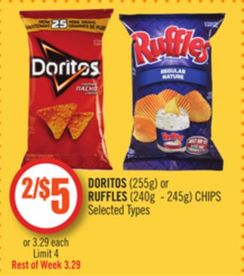 Doritos (255g) or Ruffles (240g - 245g) Chips