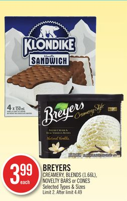 Breyers Creamery - Blends (1.66l) - Novelty Bars or Cones
