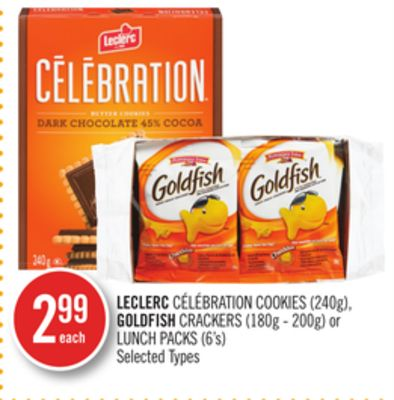 Leclerc Célébration Cookies (240g) - Goldfish Crackers (180g - 200g) or Lunch Packs (6's)
