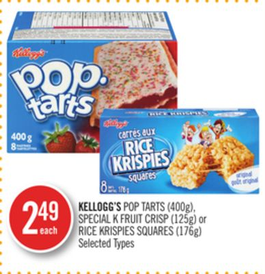 Kellogg's Pop Tarts (400g) - Special K Fruit Crisp (125g) or Rice Krispies Squares (176g)