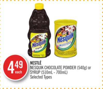 Nestlé Nesquik Chocolate Powder (540g) or Syrup (510ml - 700ml)