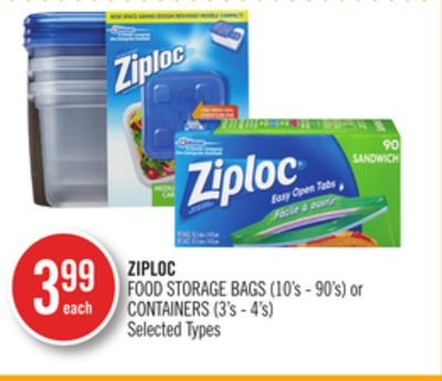 Ziploc Food Storage Bags (10's - 90's) or Containers 3's - 4's