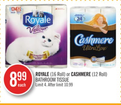 Royale (16 Roll) or Cashmere (12 Roll) Bathroom Tissue