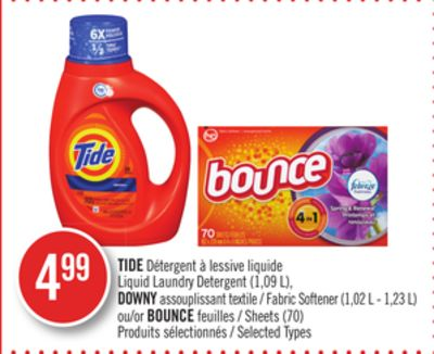 Tide Liquid Laundry Detergent (1.09 L) - Downy Fabric Softener (1.02 L - 1.23 L) or Bounce Sheets (70)