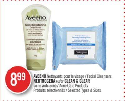 Aveeno Facial Cleansers - Neutrogena or Clean & Clear Acne Care Products