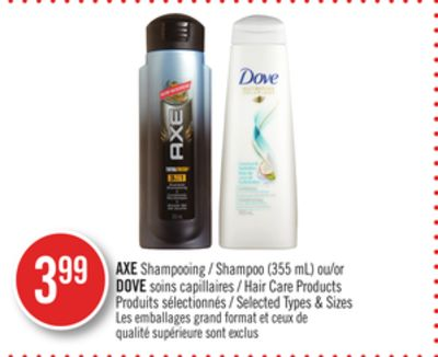 Axe Shampoo (355 Ml) or Dove Hair Care Products