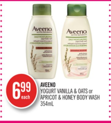 Aveeno Yogurt Vanilla & Oats or Apricot & Honey Body Wash