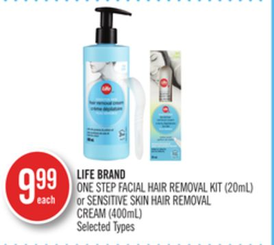 Life Brand One Step Facial Hair Removal Kit (20ml) or Sensitive Skin Hair Removal Cream (400ml)