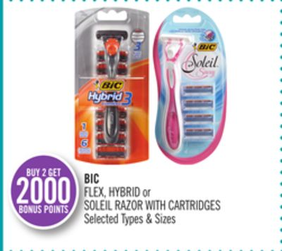 Bic Flex - Hybrid or Soleil Razor With Cartridges