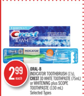 Oral-b Indicator Toothbrush (1's) - Crest 3D White Toothpaste (75ml) or Whitening Plus Scope Toothpaste (130 Ml)