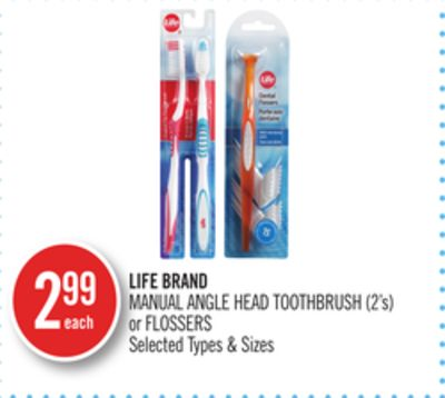 Life Brand Manual Angle Head Toothbrush (2's) or Flossers