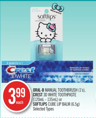 Oral-b Manual Toothbrush (1's) - Crest 3D White Toothpaste (120ml - 135ml) or Softlips Cube Lip Balm (6.5g)