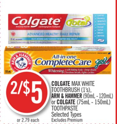 Colgate Max White Toothbrush (1's) - Arm & Hammer (90ml - 120ml) or Colgate (75ml - 150ml) Toothpaste